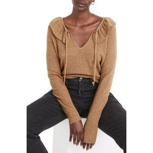 Madewell Tie Neck Ruffle Pullover Sweater Brown M